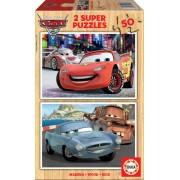 EDUCA 14936 Puzzle din lemn Maşini 2 , 2x50 bucăţi 26*18 cm