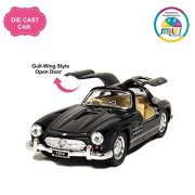 Smiles Creation Kinsmart 1:36 Scale 1954 Mercedes Benz Car with Gull Wing Style Door Opening Toys, Black (5-inch)