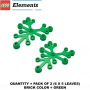 Lego Parts: Plant Leaves 6 X 5 (Pack Of 2 Green Leaves)