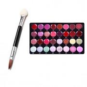 pro 32 cor lip gloss batom cosméticos conjunto paleta 10pcs vara esponja dupla (pincel de sombras pincel de lábios)