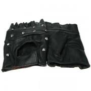 Skórzane rękawiczki motocyklowe nabijane ćwiekami czarne, LG004B