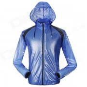 NUCKILY NY0920 Outdoor Sports Cycling Anti-UV Water Resistant Dacron Jacket Trench Coat - Blue (XL)