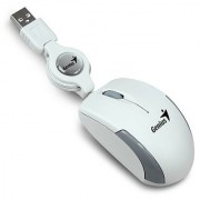 Genius Micro Traveler USB Retractable Most Mobile and Super Mini Notebook Mouse White and Gray