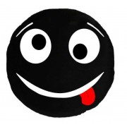 Soft Smiley Emoticon Black Round Cushion Pillow Stuffed Plush Toy Doll (Tongue Twister)