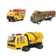 Centy Pack Of 3 Army Truck Break Down Service Concrete Mixer