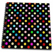 3dRose db_56682_1 Colorful Polka Dot Pattern on Black-Rainbow Multicolor Cute Dots and Spots Patterns-Drawing Book 8 by 8-Inch