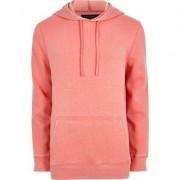 River Island Mens Pink burnout jersey hoodie