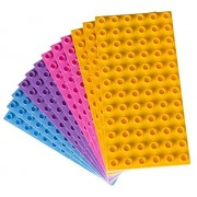 Premium Big Briks Pastel Colors (Yellow, Pink, Lavender, and Sky Blue) Baseplate Set - 12 Pack - (Big LEGO DUPLO Compatible) - Large Pegs