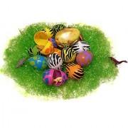 Dinosaur Nest Easter Egg Bundle 5 Items - 2x 8 Count Pack Eggs Prize Egg Mini Dinosaurs Green Easter Grass