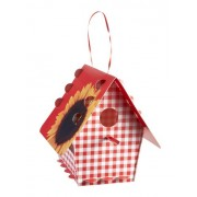 Tweet Tweet Home Recyclable Plastic Flatpacked Classic Bird House - Red Gingham