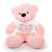 Pink 5 feet Big Teddy Bear wearing a Happy Anniversary T-shirt