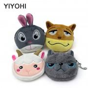 YIYOHI 11cm*10cm Cute Style Crazy Animals Zipper Plush Coin Purse Kawaii Children Coin Purse Women Wallets Mini Handbag