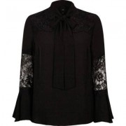 River Island Womens Black lace insert flared sleeve blouse