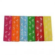 AsianHobbyCrafts Net Fabric Ribbons Printed Multi-Colored used for Scrapbooking, Hobbycrafts, Gift-wrapping etc. Width: 1 Inch; Qty: 6 colors per pack Length: 2 Mtrs per Color