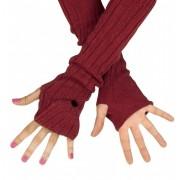 Długie rękawiczki łapki na ręce MITENKI w kolorze ceglastym