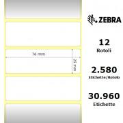 Zebra Z-Select 2000D - Etichette in carta termica protetta di colore bianco, formato 76 x 25 mm.