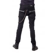 Czarne punkowe gotyckie spodnie z zamkami i łańcuchem - LANCE PANTS