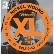 Lot De 3 Jeux De Cordes Guitare Electrique D'addario Xl Light 10-46 (Exl110-3d) Acier Plaqué Nickel