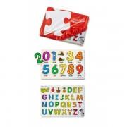 Set 2 puzzle lemn in husa Litere si Numere