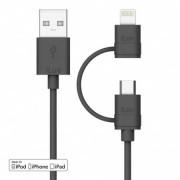 Cablu iLuv 2 in 1 cu mufe Lightning si Micro USB