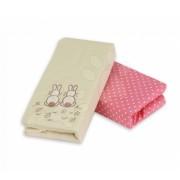 toTs-smarTrike cearşaf cu elastic în pătuţ bebe cu iepuraş Joy 140102 roz