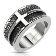 Inel Verigheta Cruce din Otel Inox Texturat RS-408