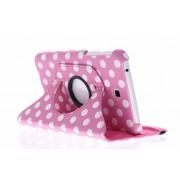 Roze 360° draaibare hoes met polka dot design voor de Samsung Galaxy Tab 3 7.0