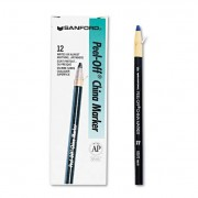 Peel-Off China Markers, Blue, Dozen