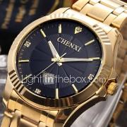 CHENXI Heren Dress horloge Modieus horloge Polshorloge Gesimuleerd Diamant Horloge Japans Kwarts imitatie Diamond Roestvrij staal Band