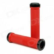 Aluminum Alloy + Rubber Bike Bicycle Handlebar Grip Covers - Red (2pcs)