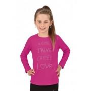Trigema Mädchen Langarmshirt Love Größe: 116 Material: 95 % Baumwolle, Ringgarn supergekämmt, 5 % Elastan Farbe: hibiskus