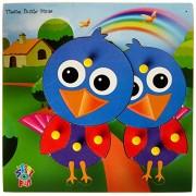 Skillofun Wooden Theme Puzzle Standard Bird Knobs, Multi Color