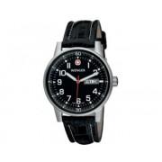 Reloj Wenger Commando Day Date XL dial negro correa piel negra