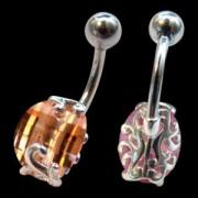 Piercing de nombril Cristal joaillier ocre