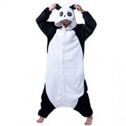 IDGIRL Adults Flannel Romper Panda pijamas Man and Women Costumes Cartoon Sleepwear Panda-S