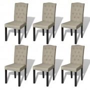 vidaXL Sada 6 jídelních židlí béžových, antik