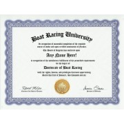 Boat Racing Race Degree: Custom Gag Boat Racer Diploma Doctorate Certificate (Funny Customized Joke Gift - Novelty Item)