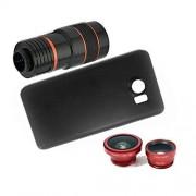 Apexel 4-en-1 angular macro/Fisheye Lente y 8X centromedio objetivos con carcasa para Samsung Galaxy S6 Edge Plus Rojo