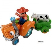 Memtes Farm Tractor Truck Toy with Farmer Cow & Wagon Music & Lights Rides on its own & Swings side to side Bump and Go Action