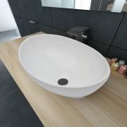 vidaXL Lavatório cerâmica 40 x 33 cm, forma oval / Branca