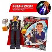 Thor Action Figure Avengers Initiative Blueprints-Thor Hammer Included Paper Craft Character from Marvel Avengers Toys-Titan Hero Series Toy Perfect Gift for Kids & Avengers Movie Collection Fans-1Pk