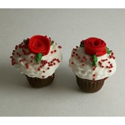Red Rose Chocolate Cupcakes Set Of 2 Doll Food For Barbie Monster High Fashion Dolls