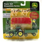 John Deere 10 Piece Farm Set w/ Red Fence and Whte/Brown Cows Red - Tomy ERTL John Deere 37657A