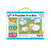 SET 4 PUZZLE-URI ANIMALE DE LA FERMA (4, 6, 8, 12 PIESE) (1003913)