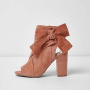 River Island Pink tie side shoe boots