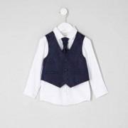 River Island Mini boys navy paisley waistcoat set
