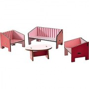 HABA Little Friends Parlor (Living Room) - Dollhouse Furniture for 4 Bendy Doll Figures