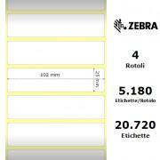 Etichette Zebra - Z-Ultimate 3000T White, formato 102 x 25