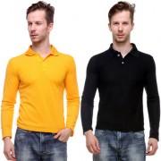 Grand Bear Men'S Black Yellow Polo Neck Full Sleeve T-Shirt (Pack Of 2)