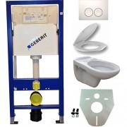 Toiletset Hangend 100-5 Geberit UP100 Inbouwreservoir Glans Wit Wandcloset Softclose Toiletbril Delta-21 Bedieningsplaat Wit